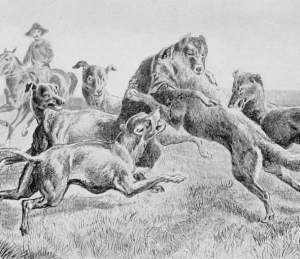 Replace the hounder on the horse with a hounder in a pickup and this is Wisconsin.
