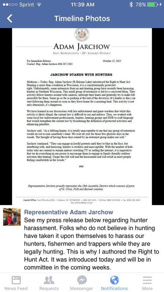 Jarchow stands with hunters? I didn't know hounders, baiters, and trappers were real
