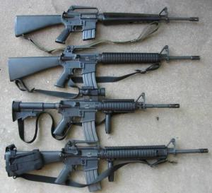 "M-16 rifle ""family.""  Photo via Wikimedia Commons."